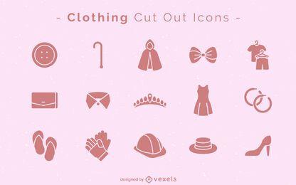Conjunto de ícones de recorte de roupas