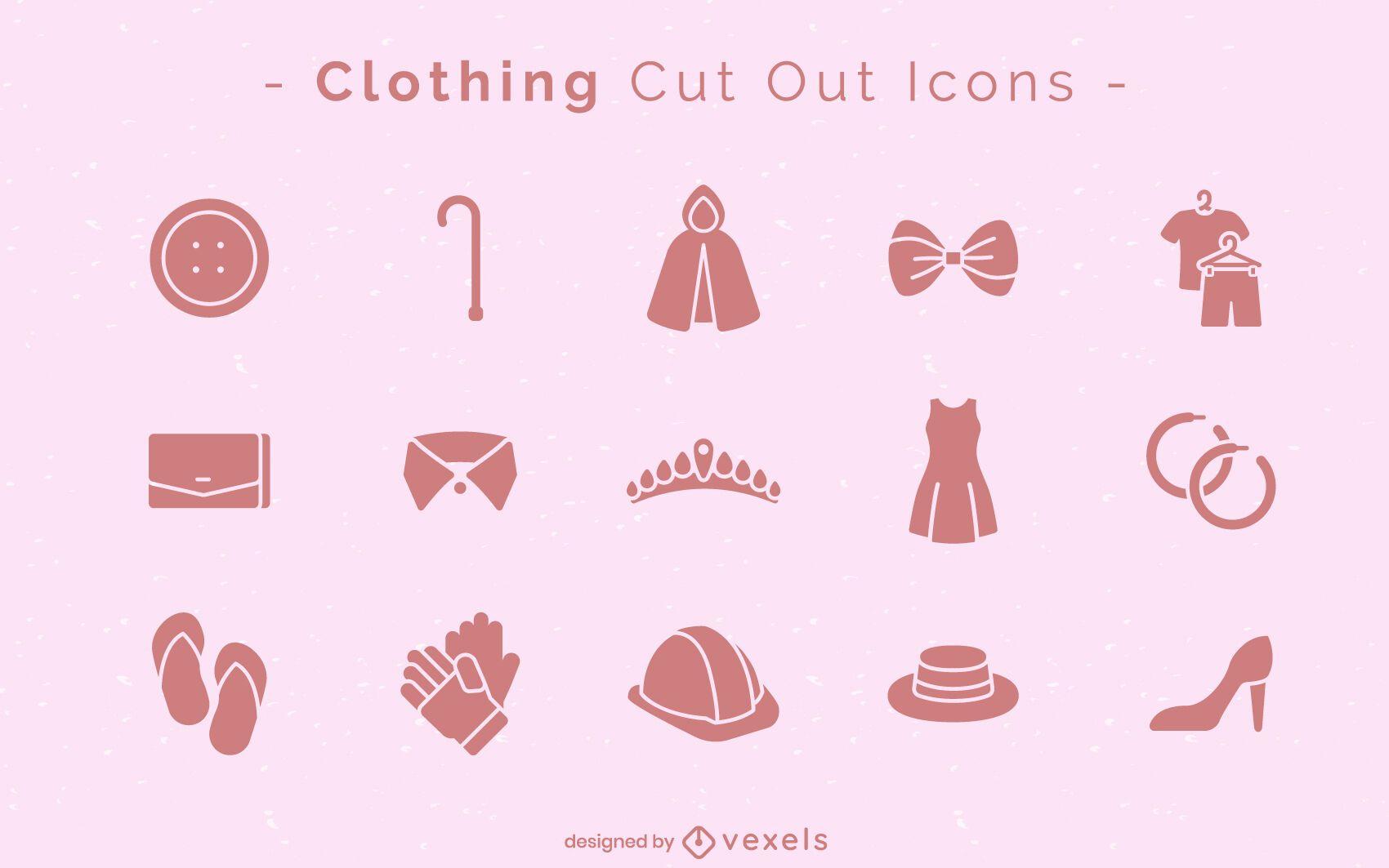 Conjunto de iconos de corte de ropa
