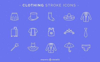 Iconos de ropa de trazo