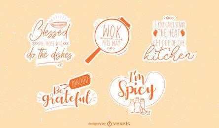 KItchen pun sticker set