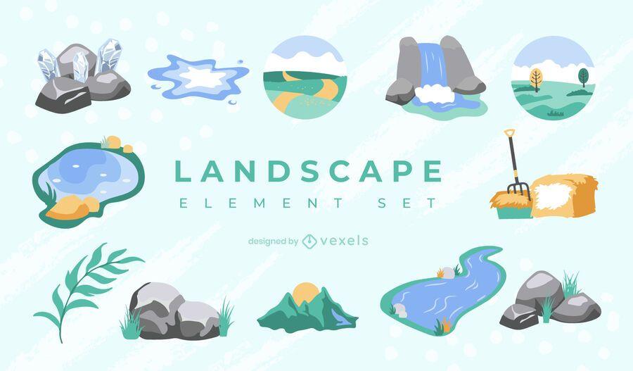 Conjunto de elemento de paisagem semi-plano