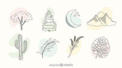Conjunto de doodle de color de la naturaleza