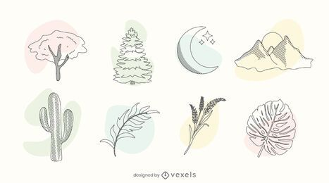 Conjunto de doodle de cor da natureza