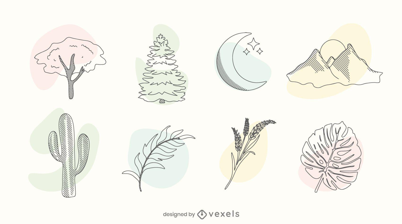 Nature color doodle set
