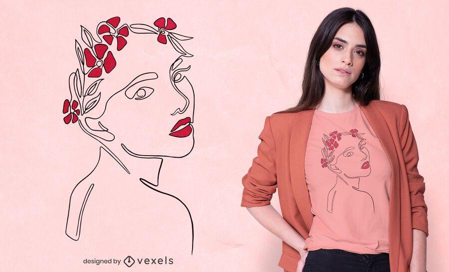 Continuous line woman t-shirt design