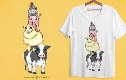 Design de camisetas torre de animais de fazenda