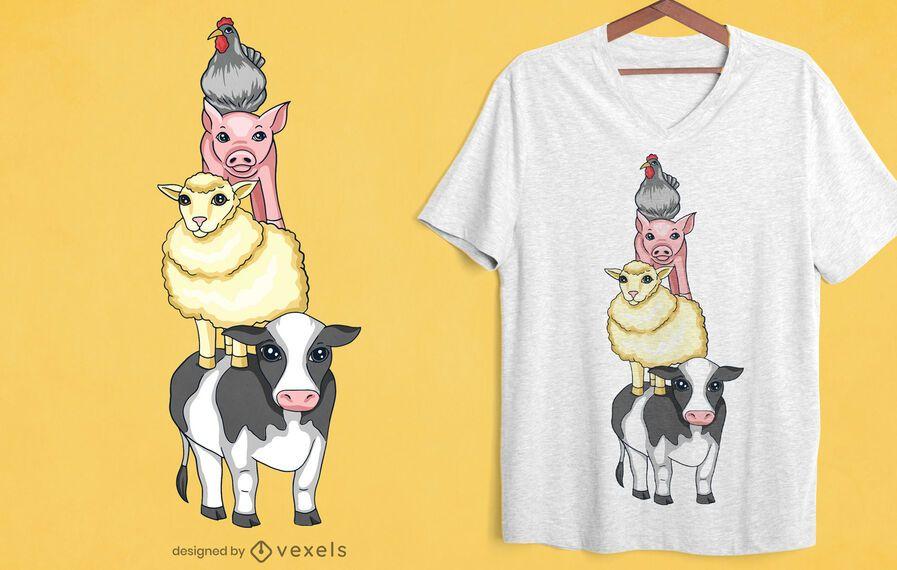 Diseño de camiseta de torre de animales de granja.