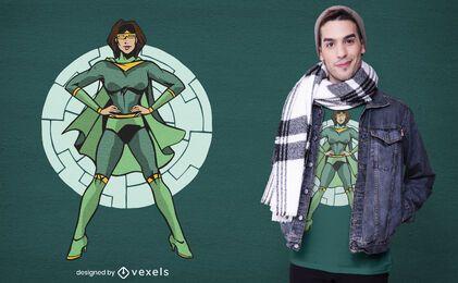 Green superheroine t-shirt design