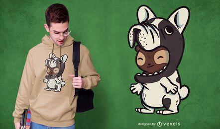 Diseño de camiseta perezoso bulldog francés
