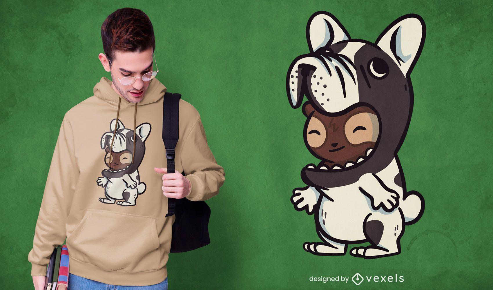 Sloth french bulldog t-shirt design