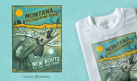Design vintage de camiseta de pesca