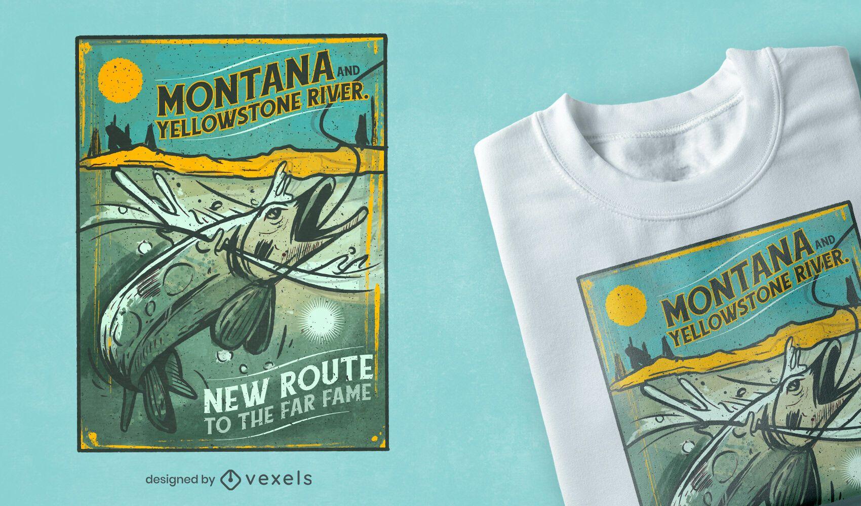 Diseño de camiseta de pesca vintage