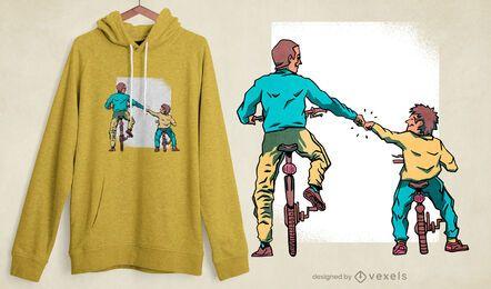 Design de t-shirt de bicicleta para pai e filho