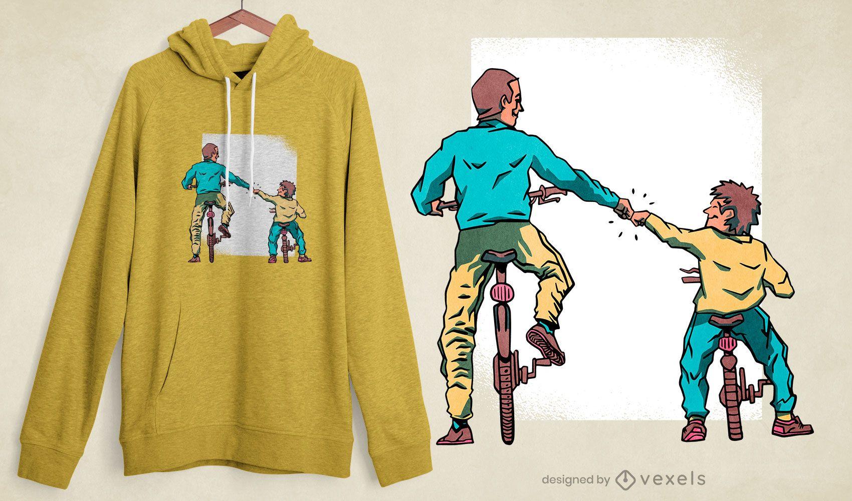 Diseño de camiseta de bicicletas padre e hijo.