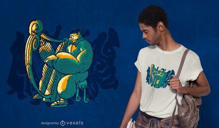 Design de camiseta de harpa para orquestra
