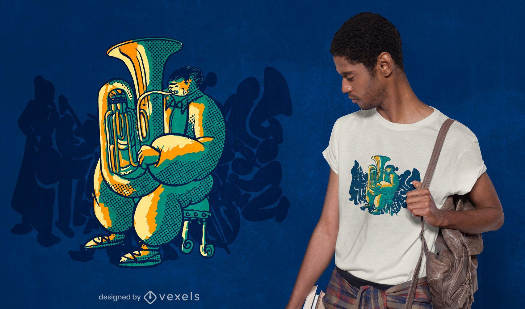 Design de camiseta para tuba de orquestra