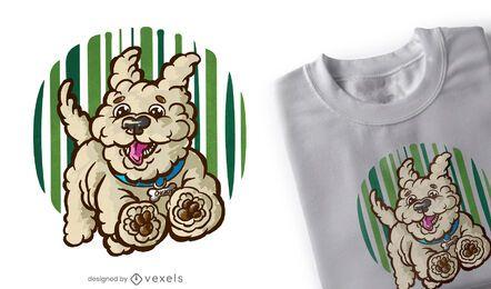 Diseño de camiseta de perro feliz corriendo