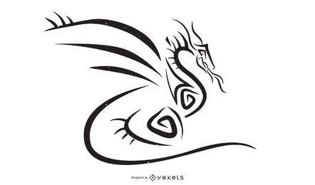 Vetor de estilo tribal de dragão