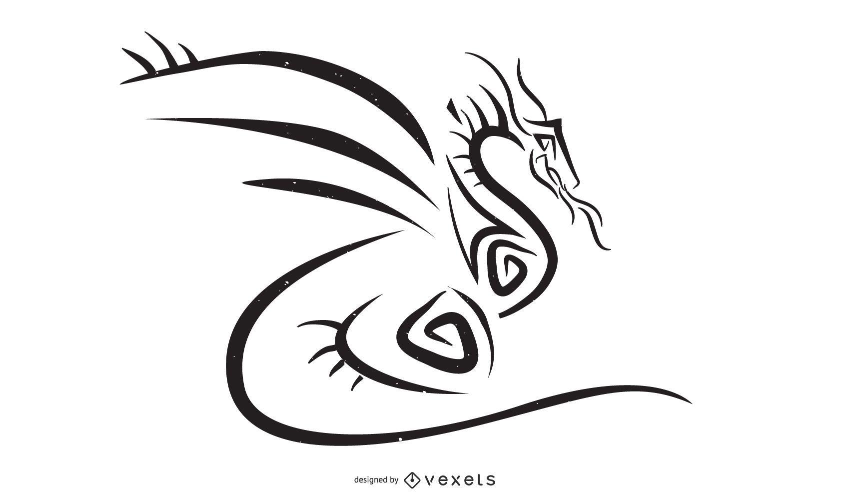 Vector de estilo tribal dragón