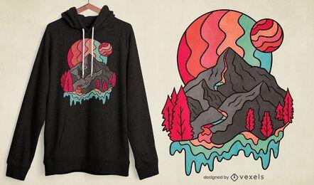 Diseño de camiseta Rainbow Mountains