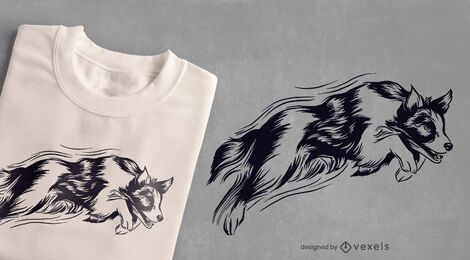 Jumping dog t-shirt design