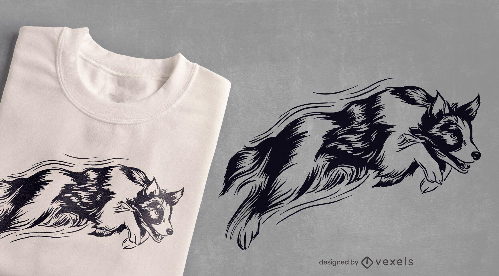 Diseño de camiseta de perro saltando.