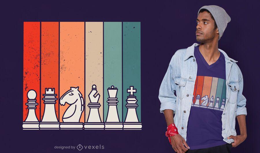 Diseño de camiseta de ajedrez retro