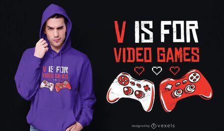 V para diseño de camiseta de videojuegos.
