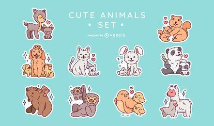 Conjunto de adesivos de família de animais fofos
