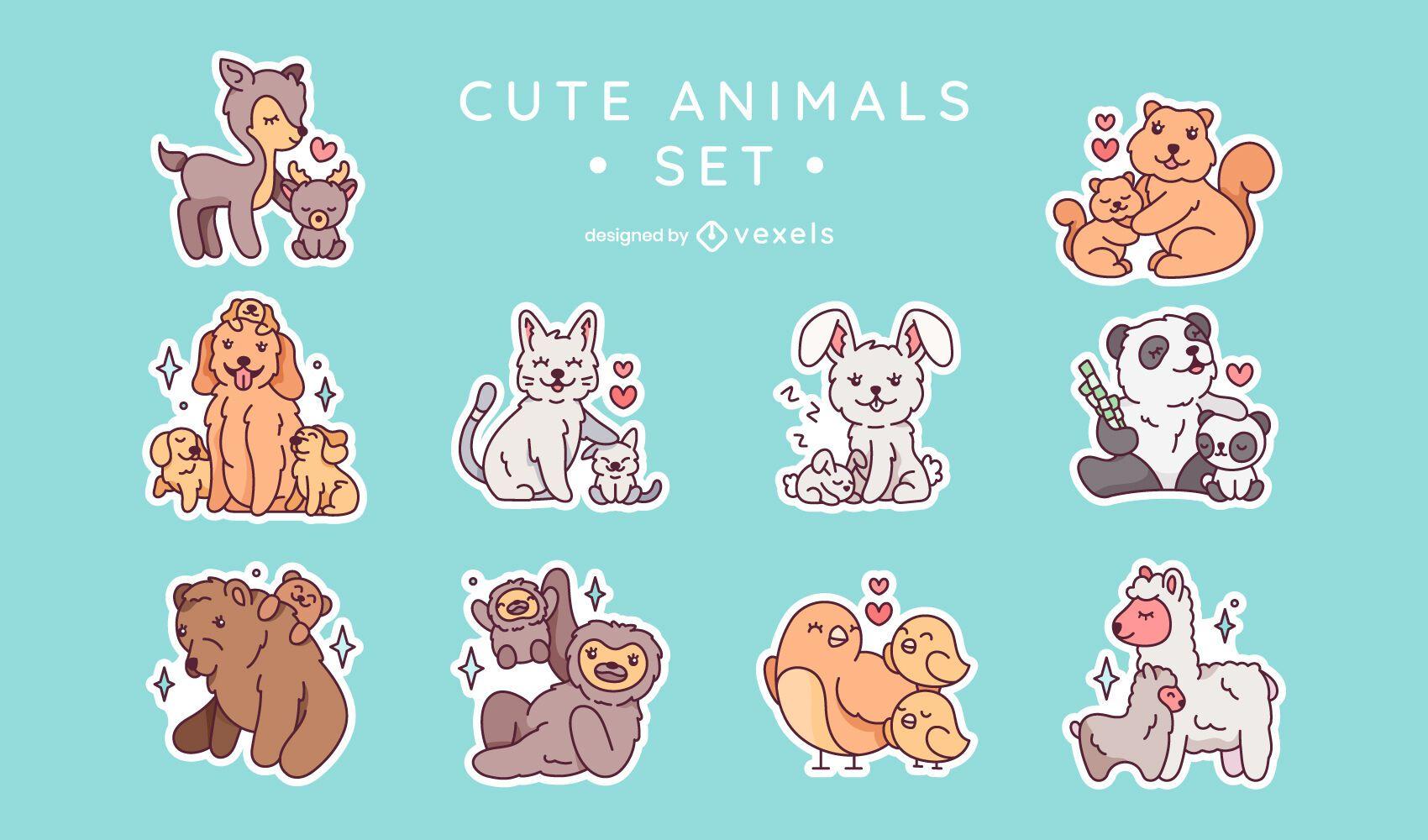Cute animal family sticker set