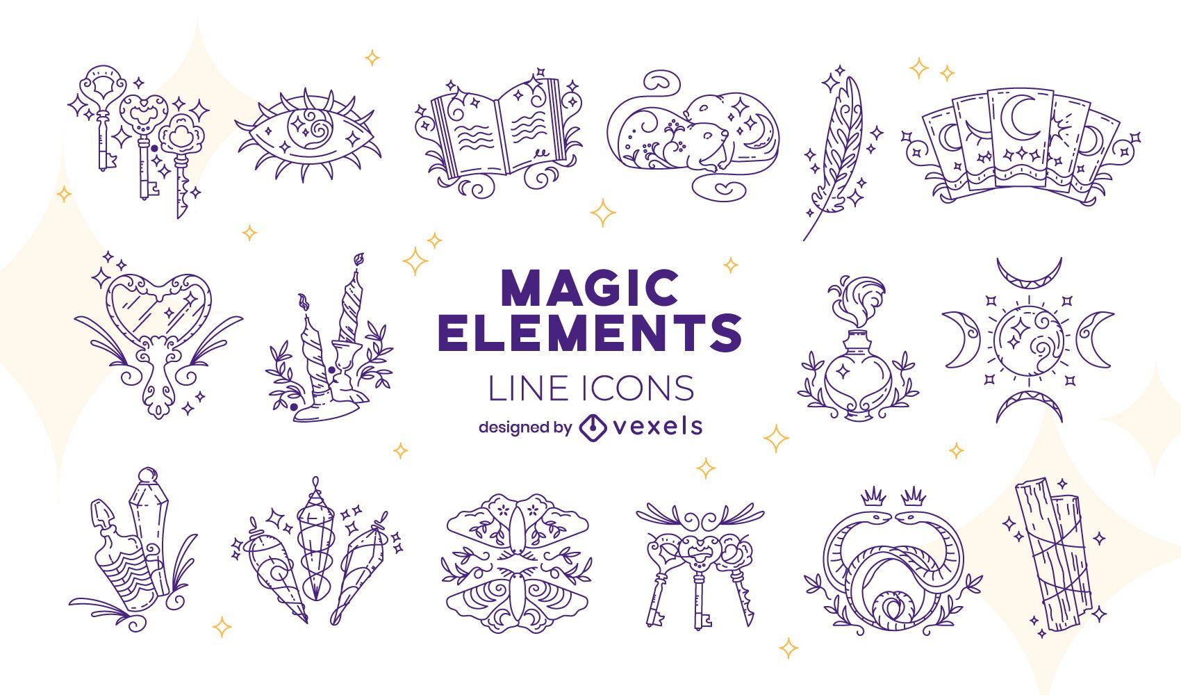 Pacote de ícones de elementos mágicos
