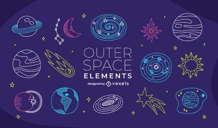 Conjunto de doodle do espaço sideral