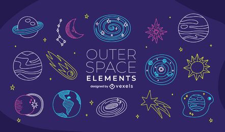 Outer space doodle set