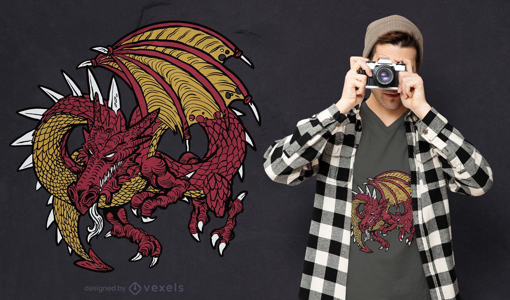 Design de camiseta de dragão adormecido