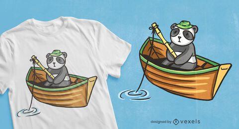 Design de camiseta de pesca do panda