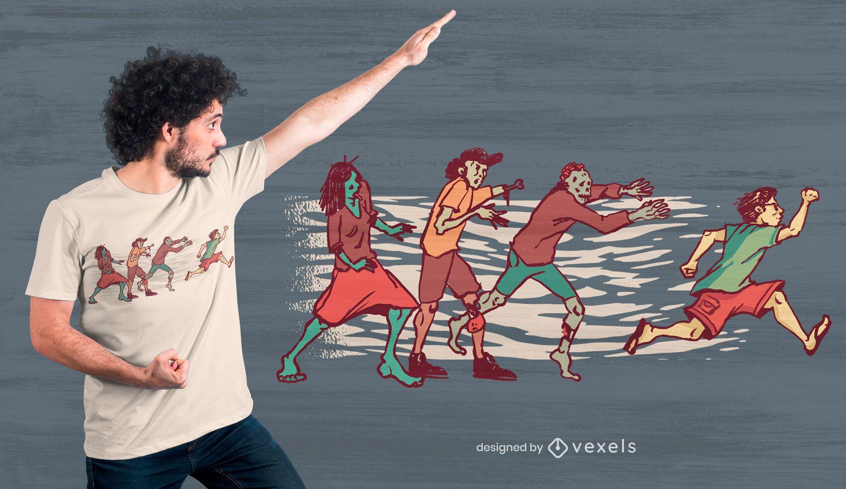Zombie run t-shirt design