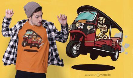 Diseño de camiseta de esqueleto de rickshaw