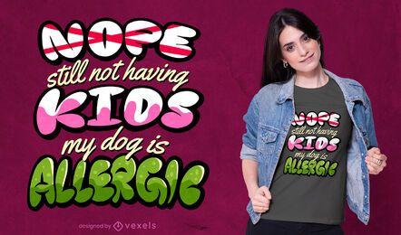 Diseño de camiseta de alergia para niños.