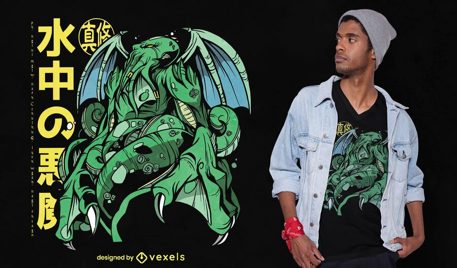 Design de camiseta anime Cthulhu