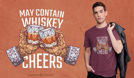 Diseño de camiseta de whisky low poly