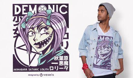 Diseño de camiseta satánica de Lolita
