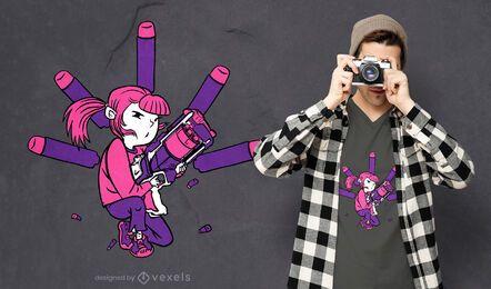 Design de camiseta feminina com arma de dardo