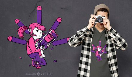 Diseño de camiseta dart gun girl