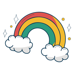 Rainbow over clouds flat