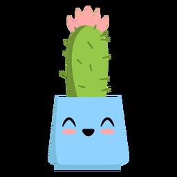 Happy cute cactus flat