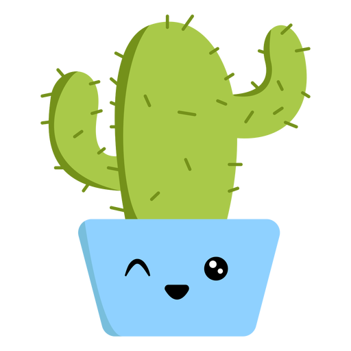 Winking cactus flat Transparent PNG