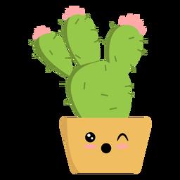 Cactus guiñando un ojo plano