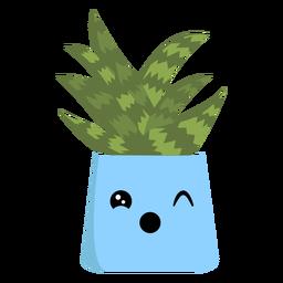 Cute cactus winking flat