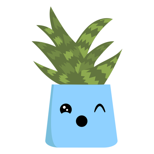 Cute cactus winking flat Transparent PNG