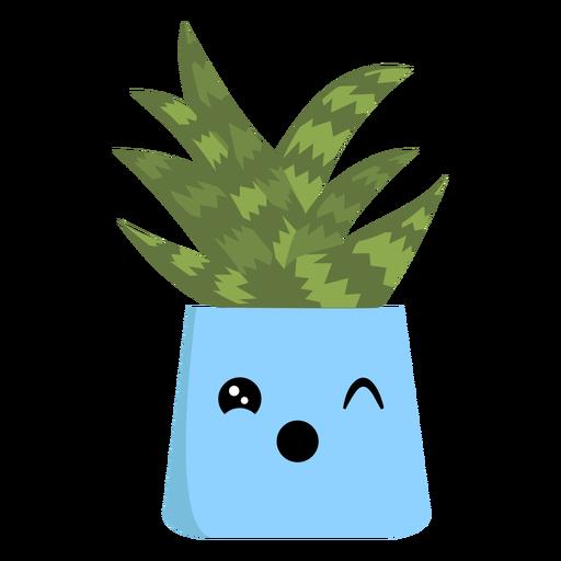 Lindo cactus guiñando un ojo plano